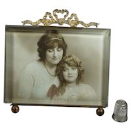 Antique French Photo Frame Gilt Bevel Glass Rectangular Circa 1870 Daughter Mothers Day Gift