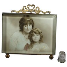 French Picture Frame Gilt Bevel Glass Rectangular Circa 1870 Mother and Daughter Gift