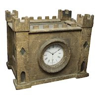 Rare Antique 19th Century English Watch Hutch, Model Castle Folk Art Painted Primitive Circa 1890