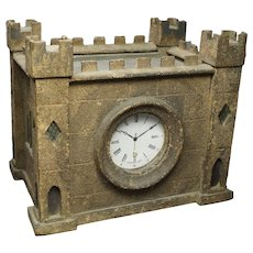 Rare 19th Century English Watch Hutch, Model Castle Folk Art Painted Primitive Circa 1890