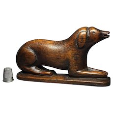 Antique Georgian Carved Wood Dog Calling Card Holder Circa 1830 Treen STUNNING
