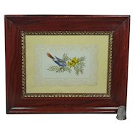 Antique 19th Century Bird Watercolor Georgian Embossed Paper Faux Grain Painted Frame Circa 1840