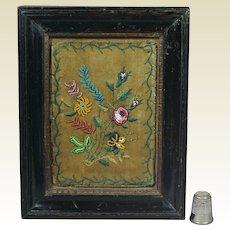 19th Century Miniature Framed Silkwork Beadwork Needlecase Purse Fragment Circa 1830