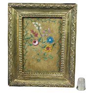Georgian Miniature Framed Silk Embroidery  Pocketbook Beadwork  Etui Fragment Circa 1830 Pressed Brass Frame