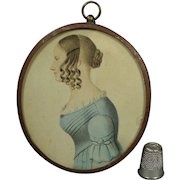 Antique English Portrait Miniature Lady on Card Named Eleanor Kenyon 1840 Folk Art