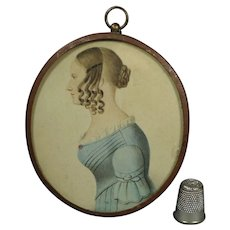 Antique English Portrait Miniature Lady on Card Named Eleanor Kenyon 1840 Folk Art