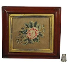 Antique 19th Century Miniature Needlepoint Needlework Picture Rose Painted  Period Frame English C 1850