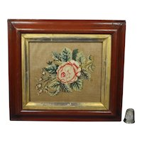19th Century Miniature Floral Needlework, English Rose Circa 1840