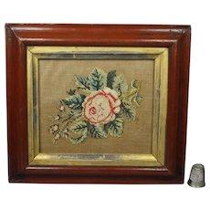 19th Century Miniature Floral Needlework, English Rose Circa 1840