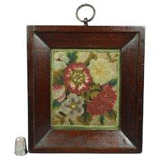 Early 19th Century Georgian Miniature Needlework Floral Flowers Original Frame Circa 1830