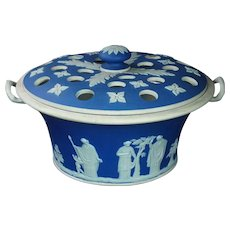 19th Century Wedgwood Cobalt Blue Jasperware Potpourri Vase and Cover 1830s Georgian AF