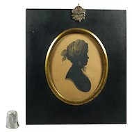 19th Century Regency Silhouette Lady in Fashionable Turban by William Alport At William Bullock Museum Liverpool Circa 1808 Henry Clay Frame