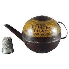 Vintage Art Deco Miniature Tin Teapot Advertising CWS for Doll Child Toy 1920s