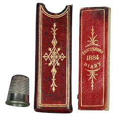 19th Century Miniature Red Leather Cased Diary De La Rue 1884 Victorian