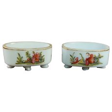 18th Century Pair White Opaline Glass Trinket Dish, Open Salt Cellars Circa 1800 Georgian Floral Enamels C 1790