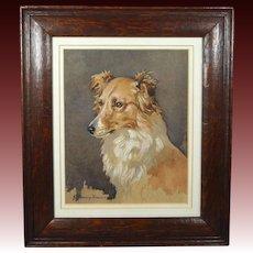Dog Waterolor Portrait Dixie by John Murray Thomson RSA RSW 1932