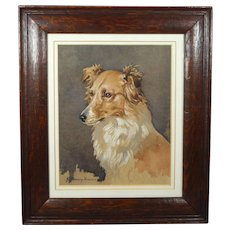 Dog Waterolor Portrait Dixie by John Murray Thomson RSA RSW 1932