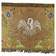 Circa 1830 French Silk Brocade Panel, Religious Altar Cloth HUGE 7 ft Valence Pelmet Banner Gold Silver Metal Thread
