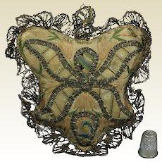 18th Century Pincushion Georgian Silk Embroidery Circa 1780