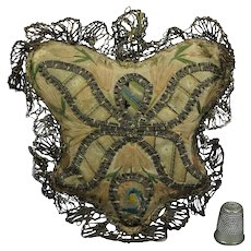 Antique French 18th Century Silk Embroidery Pincushion Georgian Circa 1780