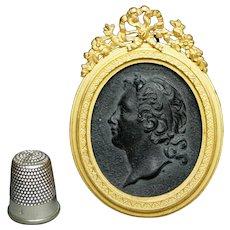 18th Century Elijah Mayer Miniature Black Basalt Cameo Portrait Medallion Queen Anne Ormolu Frame English Circa 1790