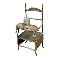 Antique Victorian Novelty Chair Brass Thimble Holder, Pin Cushion Circa 1870 AF