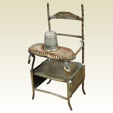 Antique Novelty Chair Brass Thimble Holder Pin Cushion Circa 1870