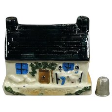 19th Century Miniature Children's British Pottery Coin Bank, Money Box, Welsh Cottage Naïve Folk Art Circa 1840