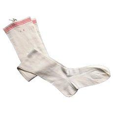 Antique French White Cotton Knit Stockings, Monogram LB, Circa 1900