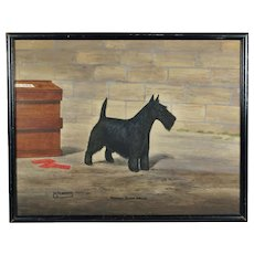Dog Painting Scottish Terrier Pedigree Watercolor Portrait Signed N Roberts Art Deco 1935