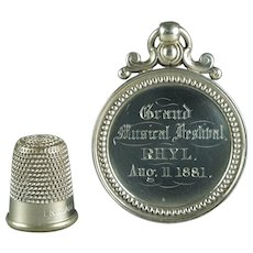 Antique Victorian Silver Medal Fob Conductor Music Award Dated 1881 W Williams Rhyl Wales