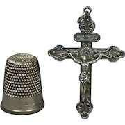 Antique French Catholic Silver Plated Pardon Crucifix of Indulgence Pendant Circa 1905