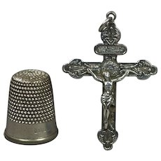 Antique French Catholic Silver Plated Pardon Crucifix of Indulgence Pendant Circa 1905