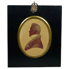 19th Century Edward Foster Red Profile Silhouette Signed Dated 1824 of Doctor Thomas Wrigley, Huddersfield, Georgian