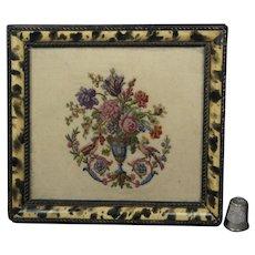 Antique Georgian Miniature Needlework Finest Quality, Faux Grain Frame English Circa 1810