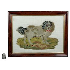 Antique 19th Century Dog Needlework Cavalier King Charles Spaniel Needlepoint Woolwork