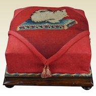 Antique 19th Century Cat Footstool Kitten Needlework Needlepoint Tapestry Circa 1900