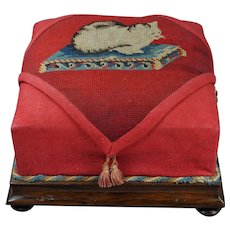 Antique 19th Century Cat Footstool Kitten Needlework Needlepoint Tapestry Circa 1900