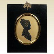 Antique 19th Century Georgian Portrait Silhouette Lady English Circa 1820