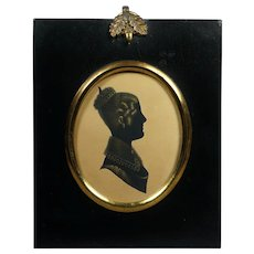 Antique 19th Century Georgian Portrait Silhouette Lady English Circa 1820