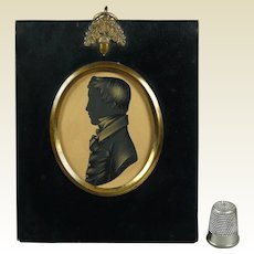 19th Century Georgian Cut Paper Silhouette Small Boy English Circa 1815