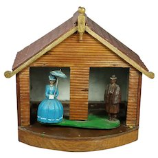 Vintage 1930s Folk Art Weather House Hand Painted Wood