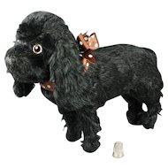 Vintage Farnell Toy Dog Black Mohair Cocker Spaniel English Circa 1930s