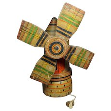 Antique Dutch Windmill Pull Toy Dry Painted Gorgeous 19th Century Folk Art C 1840