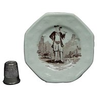 Antique Staffordshire Miniature Toy Plate Pipe Smoker Circa 1820 Transferware Georgian