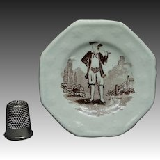 Antique Staffordshire Miniature Toy Plate Pipe Smoker Circa 1820 Transferware Georgian