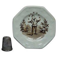 Georgian Staffordshire Miniature Toy Doll Plate Juggler Circa 1820