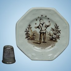 Antique Staffordshire Miniature Toy Doll Plate Juggler Circa 1820 Transferware Georgian