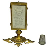 Antique 19th Century 1860 Miniature Gilt Almanack Stand Holder Doll House Double Photo Frame