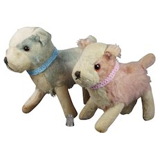 Vintage 1930s Pair Chiltern Toy Dog Rare Pink and Blue Mohair Jack Russell Terriers